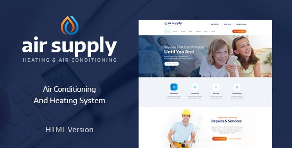 Air Conditioning and Heating Services Site Template - Business Corporate