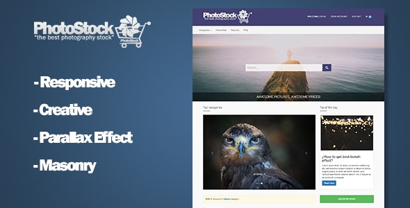 PhotoMarket HTML Stock Photography Template - Photography Creative