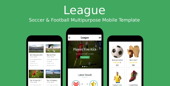 League - Soccer & Football Multipurpose Mobile Template - Mobile Site Templates