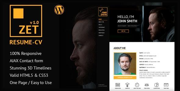 ZET - One Page Resume/Personal Portfolio WordPress Theme - Portfolio Creative