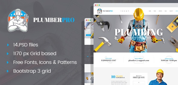 PlumberPro - Handyman Service PSD Template - Business Corporate