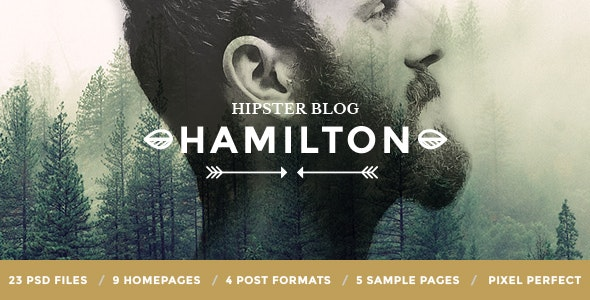 Hamilton - Hipster Blog PSD Template - Personal Photoshop
