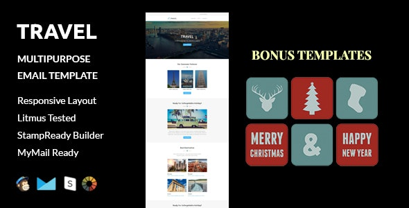 Travel + Christmas and  New Year Bonus Templates with Stampready Builder access - Email Templates Marketing