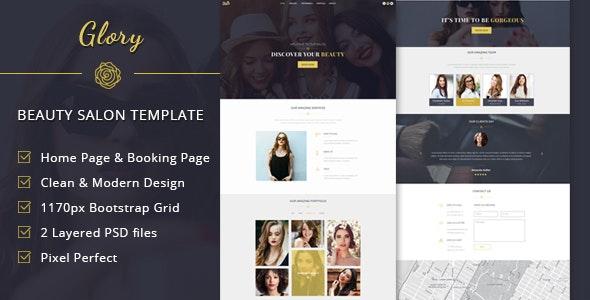 Glory - Beauty Salon One Page PSD Template - Health & Beauty Retail