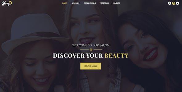 Glory - Beauty Salon One Page PSD Template