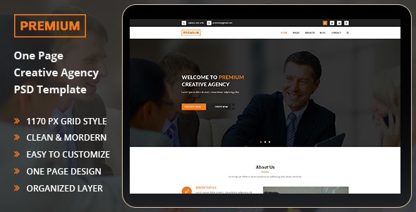 Premium - One Page PSD Templete - Creative PSD Templates