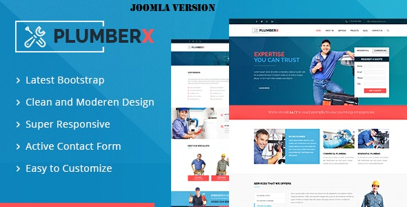 Plumberx - Plumber and Construction Joomla Template - Business Corporate