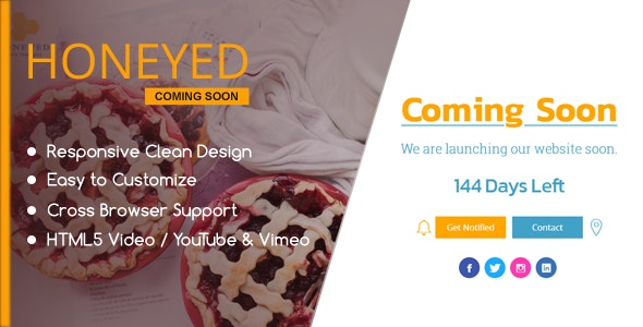 HONEYED - Simple Vimeo & YouTube Video Background Page - Under Construction Specialty Pages