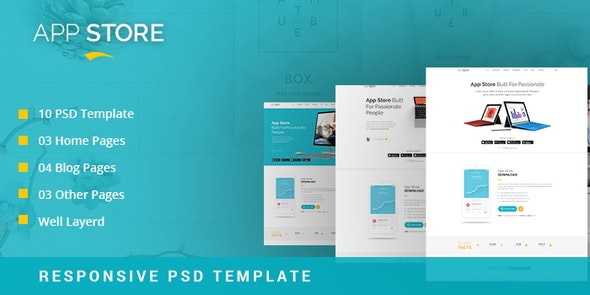 APP STORE - App Landing Page PSD Template - Software Technology