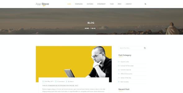 APP STORE - App Landing Page PSD Template