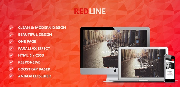 Redline One Page Parallax Theme - Site Templates