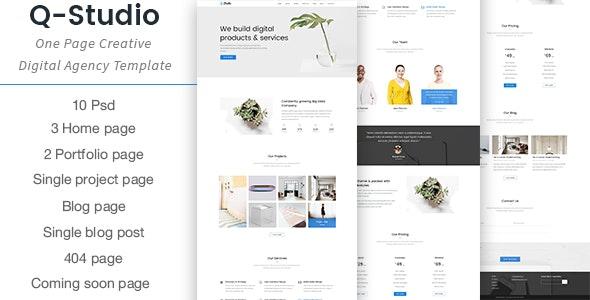 Q-Studio - One Page Creative Digital Agency Template - Creative Photoshop