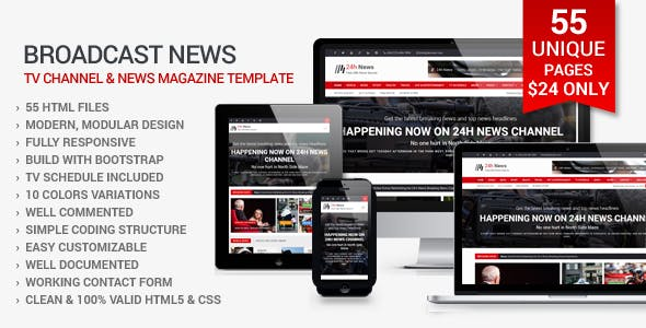 24h News Broadcast Tv Channel And Magazine Template