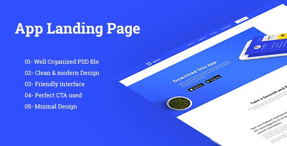App Landing Page - Technology Photoshop