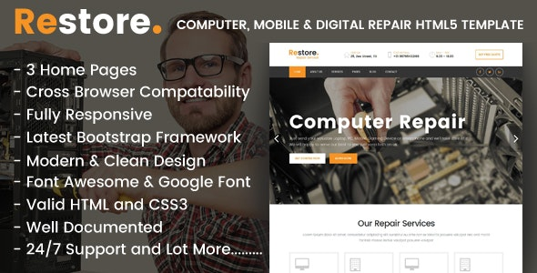 Restore - Computer, Mobile & Digital Repair Shop HTML5 Template - Computer Technology