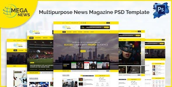 Mega News - Multipurpose News Magazine PSD Template