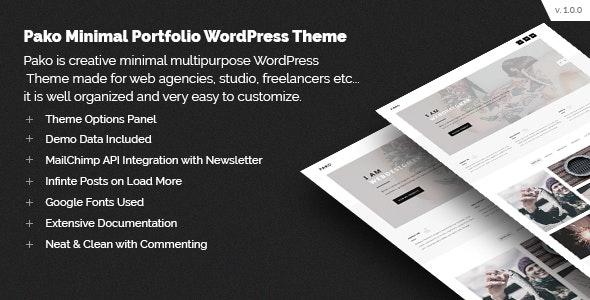 Pako Minimal Portfolio WordPress Theme - Portfolio Creative