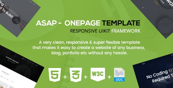 Asap - A Responsive Onepage Corporate Template - Corporate Site Templates