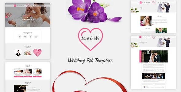 Love & We Wedding PSD Template - Events Entertainment