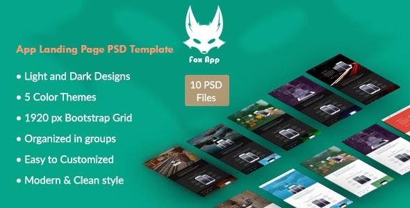 Fox App - App Landing Page Template - PSD Templates