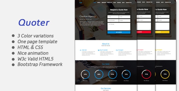 Quoter One page Responsive Bootstrap Template - Site Templates