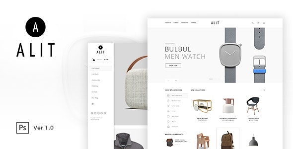 Alit - Minimalist eCommerce PSD Template - Retail Photoshop