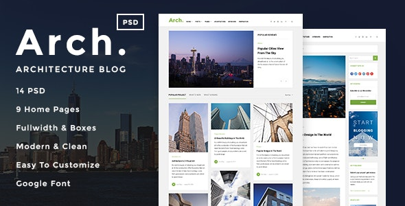 Arch - Architecture Blog PSD Template - Photoshop UI Templates