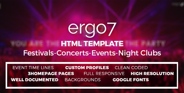 Ergo7 - HTML Template for Events | Parties | Festivals - Events Entertainment