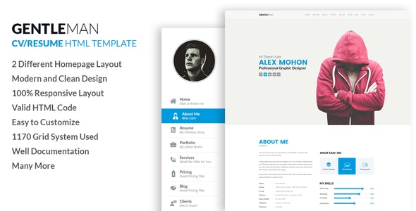 Gentleman- Responsive CV / Resume HTML Template - Resume / CV Specialty Pages