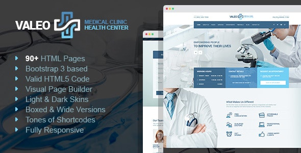 Valeo - Hospital & Medical Lab HTML template with Page Builder - Health & Beauty Retail