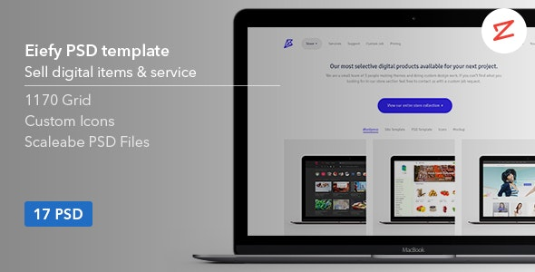 Eiefy: PSD Template for Selling Themes & Services - Photoshop UI Templates
