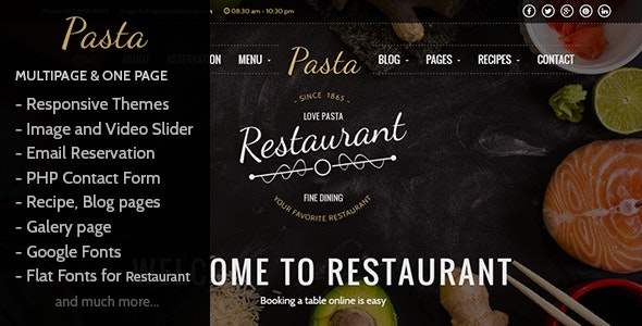 Pasta - Restaurant HTML Responsive Template - Restaurants & Cafes Entertainment