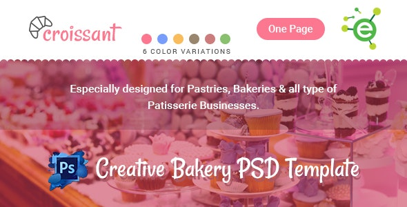 Croissant - Creative Bakery and Pastry Business One Page PSD Template - Restaurants & Cafes Entertainment