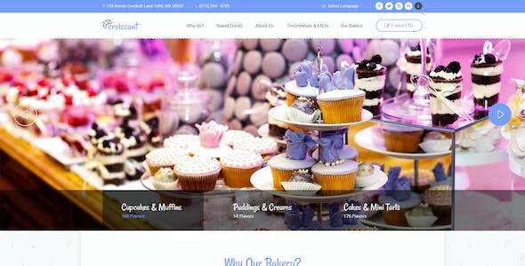 Croissant - Creative Bakery and Pastry Business One Page PSD Template