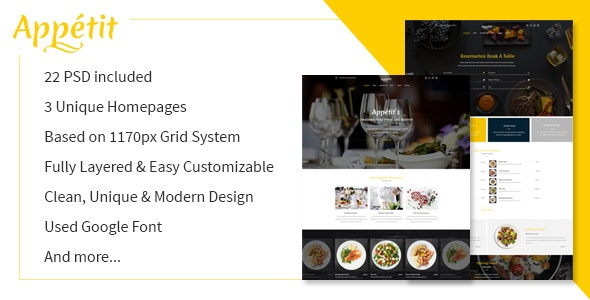 Appetit Restaurants PSD Template - Restaurants & Cafes Entertainment