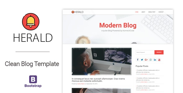 Herald Modern and Clean Blog HTML Template - Personal Site Templates