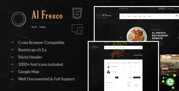 Al Fresco – An eCommerce Restaurant Responsive HTML Template