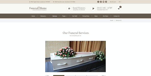 Funeral Home - Cemetery & Services PSD Template