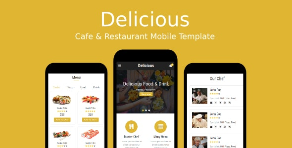 Delicious - Cafe & Restaurant Mobile Template - Mobile Site Templates