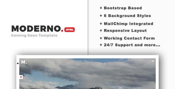 Moderno - Creative Coming Soon HTML Template - Under Construction Specialty Pages
