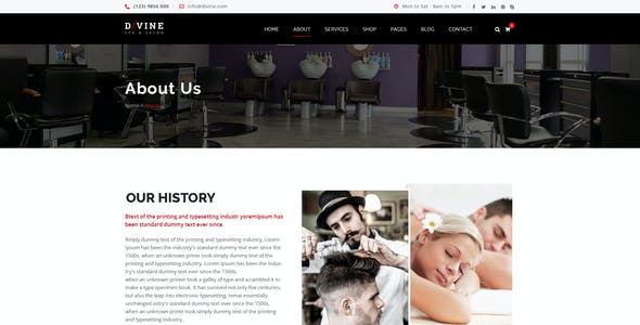 Divine - Salon & Spa Premium PSD Theme