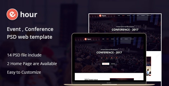 Event Hour - Event and Conference PSD Template - Events Entertainment