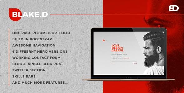 BlakeD - Portfolio & Resume Template - Portfolio Creative