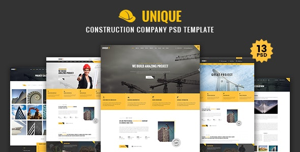 UNIQUE - Construction Company PSD Template - Corporate PSD Templates
