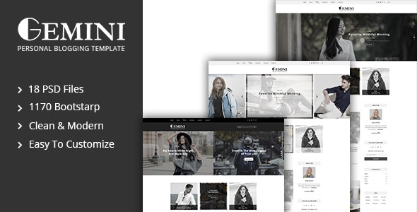 Gemini Personal Blogging PSD Template - Personal Photoshop