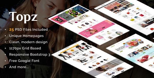 Topz | Responsive Multi-Purpose eCommerce PSD Template - Retail Photoshop