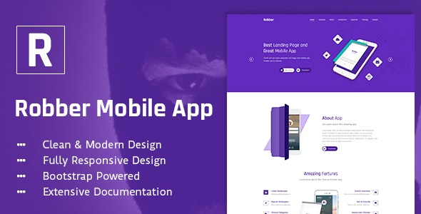Robber Mobile App Landing Page PSD Template - Technology Photoshop
