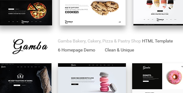 Gamba Bakery, Cakery, Pizza & Pastry Shop HTML Template - Site Templates
