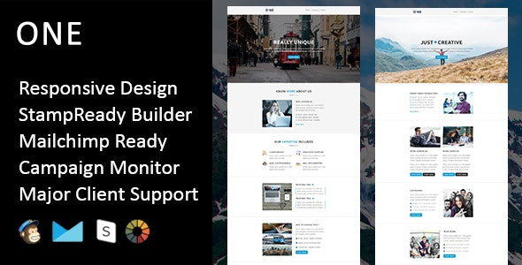 One - Multipurpose Responsive Email Template + Stampready Builder - Email Templates Marketing