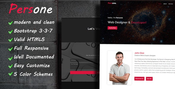 Persone - OnePage Responsive Personal Template - Personal Site Templates